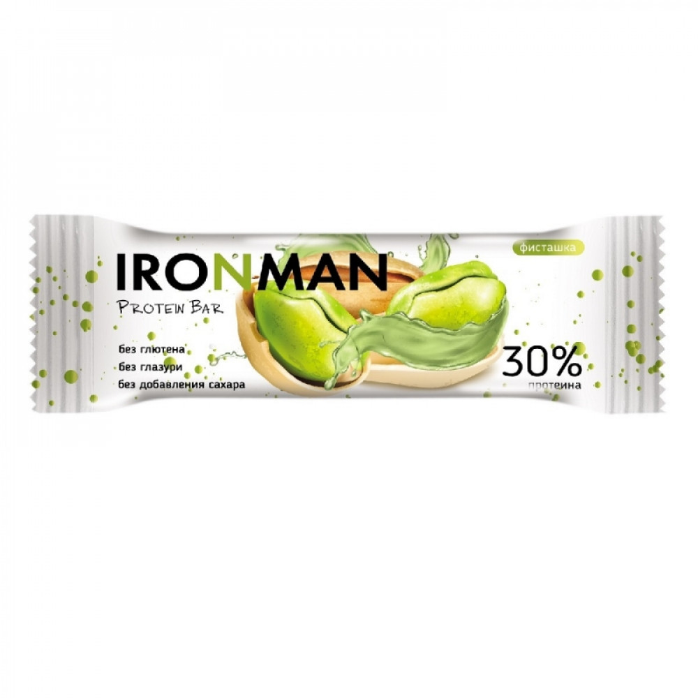 IRONMAN™ протеиновый батончик без глазури  (фисташка) - 50 г